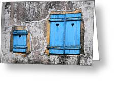 Old Blue Shutters Greeting Card