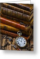 Old Books And Pocketwatch Greeting Card