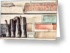 Old Boots And Boxes - On The Shelves Of A 19th Century General Store Greeting Card by Gary Heller