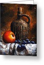 Old Bottle And Fruit Greeting Card