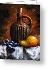 Old Bottle And Fruit II Greeting Card