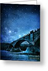 Old Bridge Over River Greeting Card