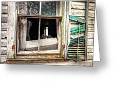 Old Broken Window And Shutter Of An Abandoned House Greeting Card