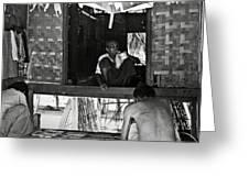 Old Burmese Smoker Woman Greeting Card