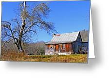 Old Cabin And Tree Greeting Card
