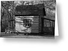 Old Cabin At Fort Washita In Bw Greeting Card