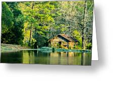 Old Cabin By The Pond Greeting Card