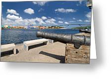 Old Cannon And Queen Juliana Bridge Curacao Greeting Card