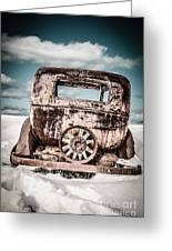 Old Car In The Snow Greeting Card