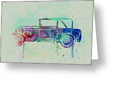 Old Car Watercolor Greeting Card