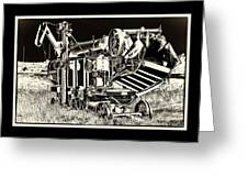 Old Case Thresher - Black And White Greeting Card