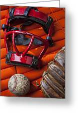 Old Catcher Mask Greeting Card by Garry Gay