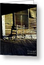 Old Chair On Old Porch Greeting Card