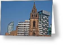 Old Church Amongst New High Rise Modern Apartments Greeting Card
