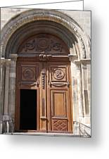 Old Church Door Cathedral Autun Greeting Card