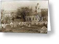 Old Church's Cemetery Graveyard Boston Massachusetts Circa 1900 Greeting Card