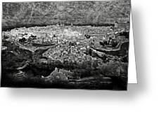 Old City Of Toledo Bw Greeting Card