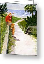 Old Codger On Beach Greeting Card