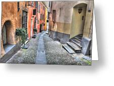 Old Colorful Stone Alley Greeting Card