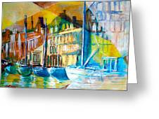Old Copenhagen Thru Stained Glass Greeting Card by Seth Weaver
