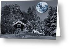 Old Cottage And Landscape With A Full Moon Greeting Card
