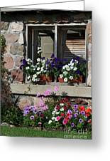 Old Cottage Flowers Greeting Card