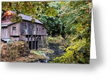 Old Creek Grist Mill In Autumn Greeting Card