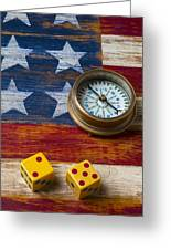 Old Dice And Compass Greeting Card by Garry Gay
