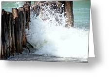 Old Dock Pilings Beaten By Waves Greeting Card