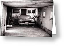 Old Dodge Car In Garage Greeting Card