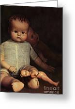 Old Dolls Sitting On Wooden Table Greeting Card