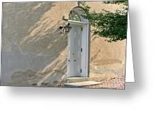 Old Door And Stucco Wall Greeting Card