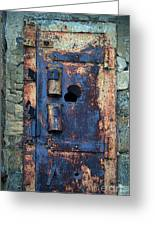 Old Door At Abandoned Prison Greeting Card