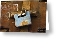 Old Door Padlock Greeting Card