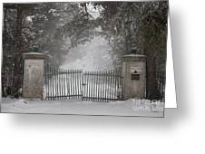 Old Driveway Gate In Winter Greeting Card