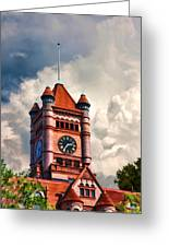 Old Dupage County Courthouse Clouds Greeting Card