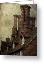 Old English House With Cat Greeting Card