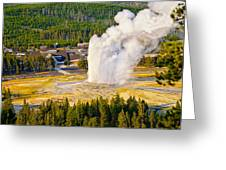 Old Faithful From Observation Point Greeting Card