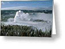 3m09132-01-old Faithful Geyser In Winter Greeting Card