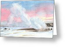 Old Faithful Sunrise Watercolor Painting Greeting Card