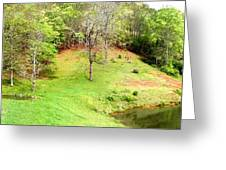 Old Farm House And Pond Greeting Card