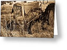 Old Farm Tractor In Sepia 1 Greeting Card