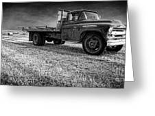 Old Farm Truck Black And White Greeting Card