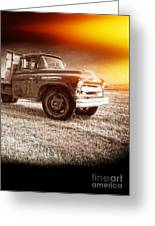 Old Farm Truck With Explosion At Night Greeting Card