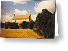 Old Farmhouse Landscape Greeting Card