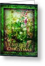 Old Fashioned Merry Christmas - Roses And Babys Breath - Holiday And Christmas Card Greeting Card