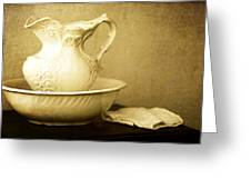 Old Fashioned Pitcher And Basin Greeting Card