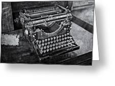Old Fashioned Underwood Typewriter Bw Greeting Card