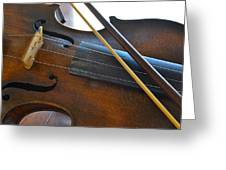 Old Fiddle And Bow Still Life 2 Greeting Card
