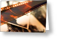Old Film Strip And Photos Background Greeting Card by Michal Bednarek